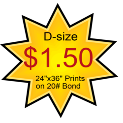24x36 D-size Blueprints only $1.50 each