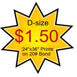 24x36 D-size Blueprints only $1.50 each